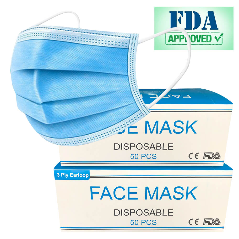 High Quality Medical Face Masks 3-Layered FDA Approved Disposable Masks