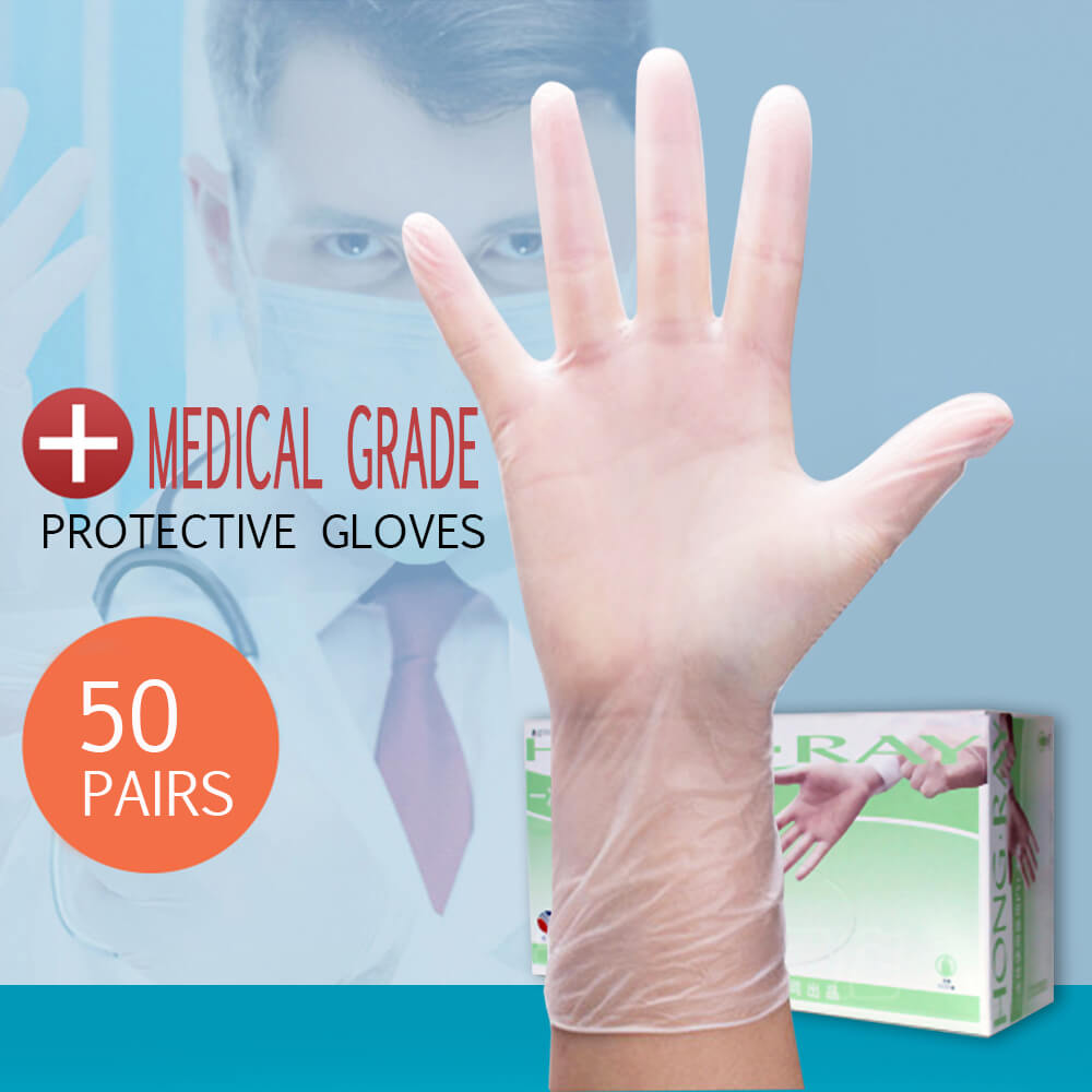 50 Pairs Medical Grade Disposable Gloves PVC High Elastic Anti-static Gloves