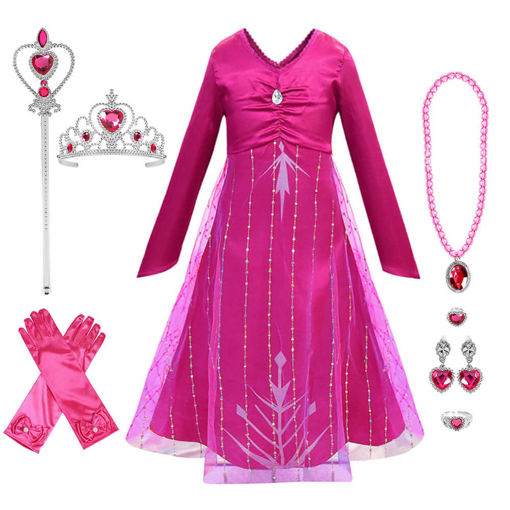 Princess Elsa New Hot Pink Dress Halloween Cosplay Costume Daily Wear