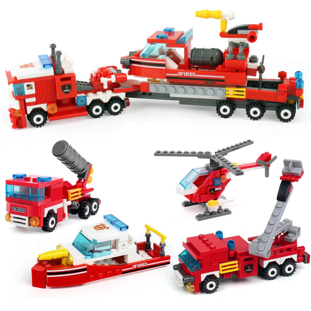 Firefighter Building Blocks 4in1 City Fire Fighting Truck Toys