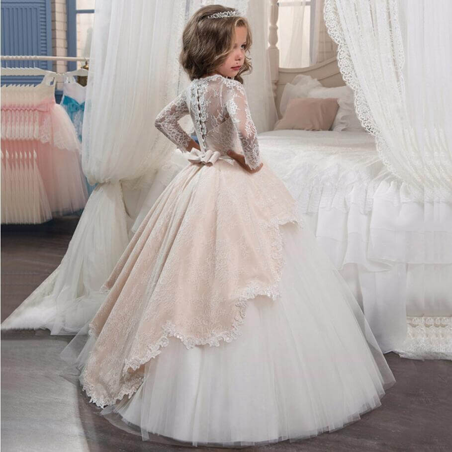 Long Sleeve Flower Girl Dress Kids Birthday Wedding Prom Lace Dress