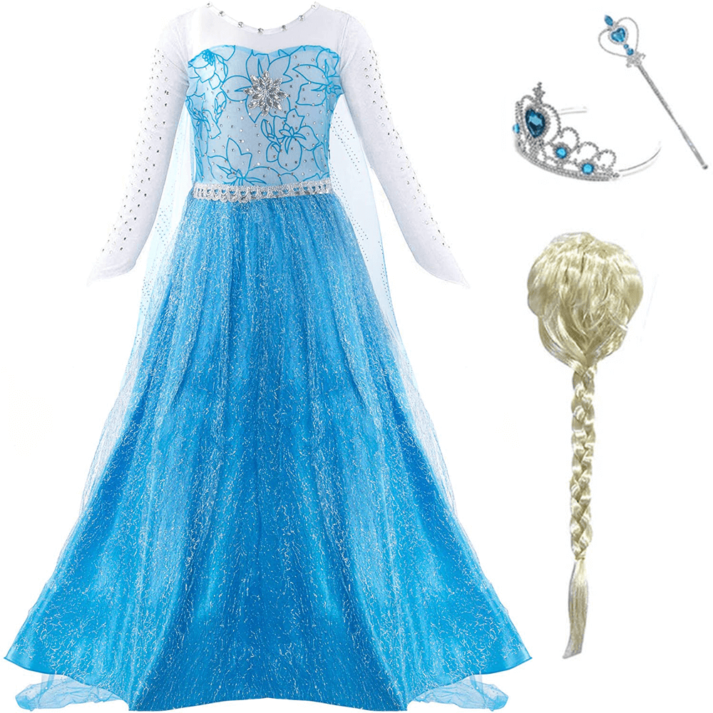 Kids Princess Elsa Dress and Accessories Cosplay Party Princess Dress with Long Train