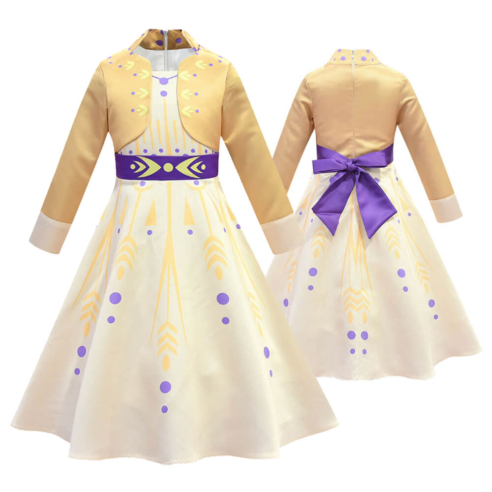 New Kids Princess Anna Dress Cute Girls Anna Costume Party Cosplay Princess Dress