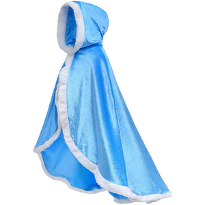 Fur Princess Hooded Cape Cloaks Costume for Girls Dress Up