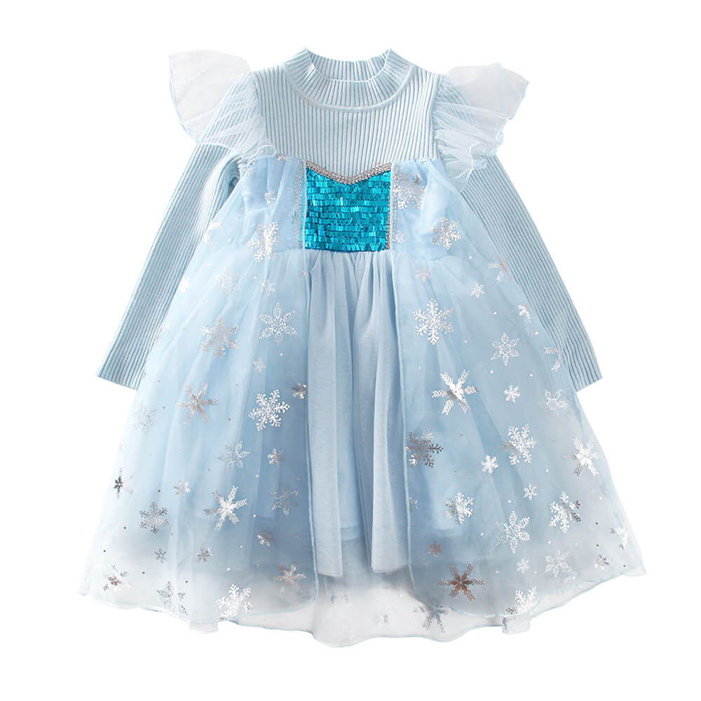 Little Girls Winter Princess Elsa Dress Frozen Snowflake fluffy Sweater Dresses 3-9 Years