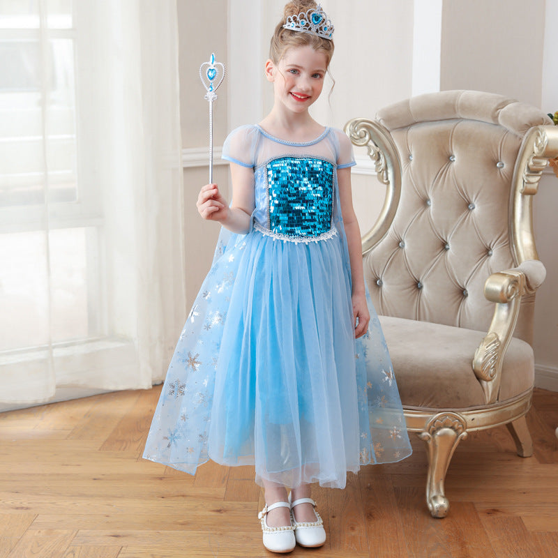 Girls Dress up Fantasy O neck Sequin Princess Elsa Costume Cosplay Dress