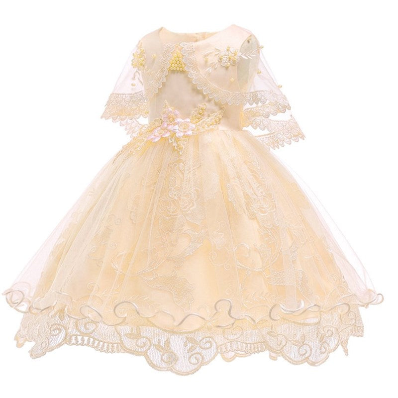 Toddler/Kids Pearl Flower Birthday Dresses Kids Little Girls Pageant Wedding Prom Birthday Party Dress