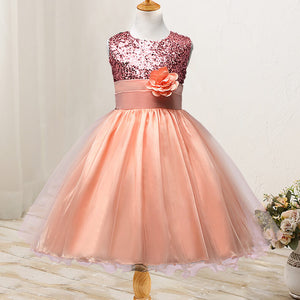 Girl's Sequined Flower Decorated Dress