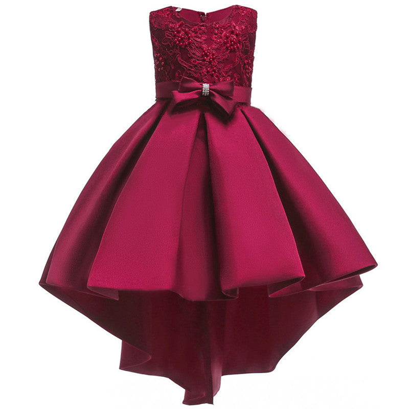 Flower Girl Dress Kids High Low Birthday Pageant Wedding Prom Special Occasion Dresses