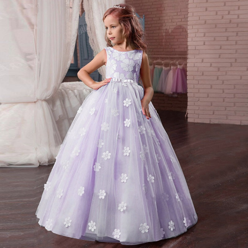 A-Line Long Lace Dress With Flower Petals Decoration Girs Birthday Prom Wedding Party Dresses