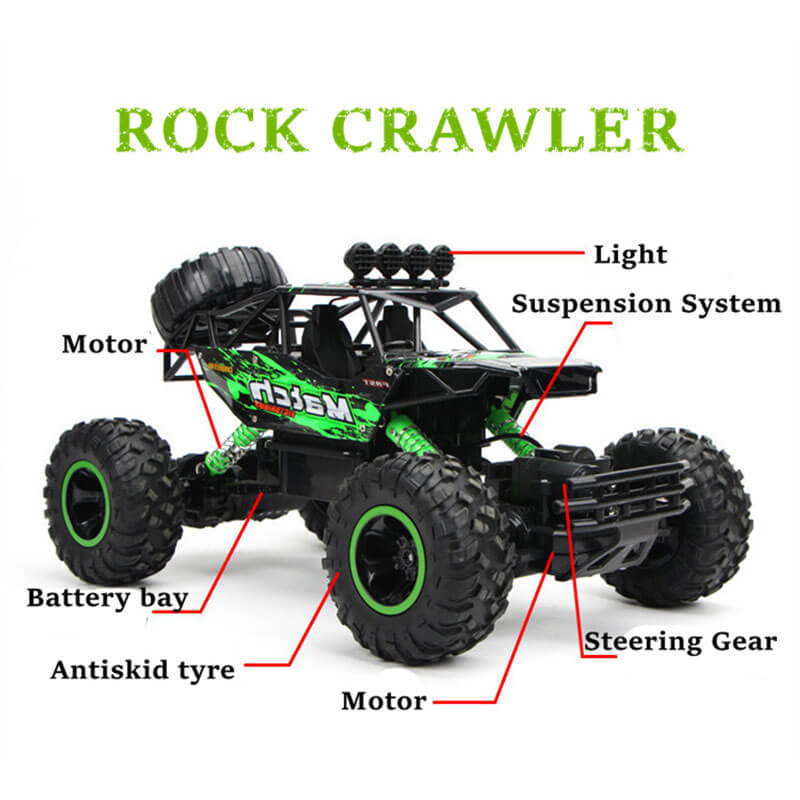 Large 4WD Remote Control Trucks 2.4G Off-Road Rock Climbing RC Car Toys, Best Gift for Kids and Adults