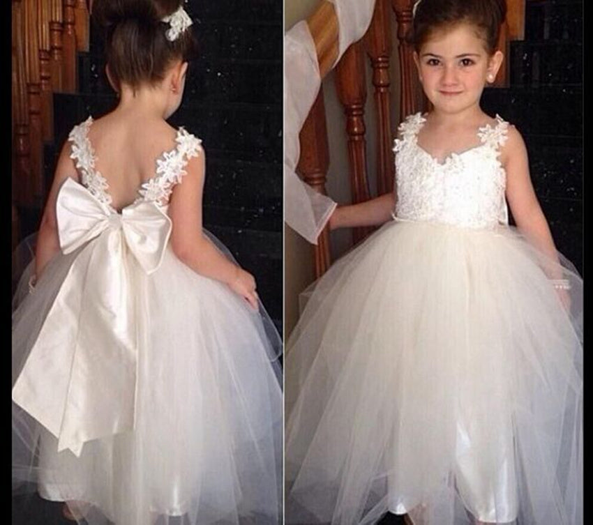 White Flower Girl Dress Sweetheart Dress with Big Bowknot Party Wedding Prom Birthday Dresses