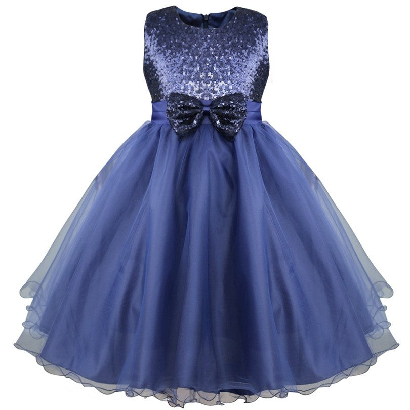 Girls Eye-catching Sequins Pageant Prom Wedding Flower Girl Dresses