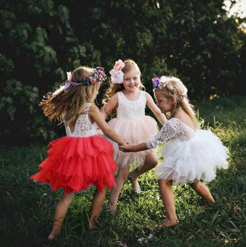Toddler Bohemian Flower Girl Dress Summer Party Tutu Dress