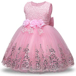 Lace Flower Girl Dress Kids Applique Sweet Princess Dress With Lovely Big Bowknot