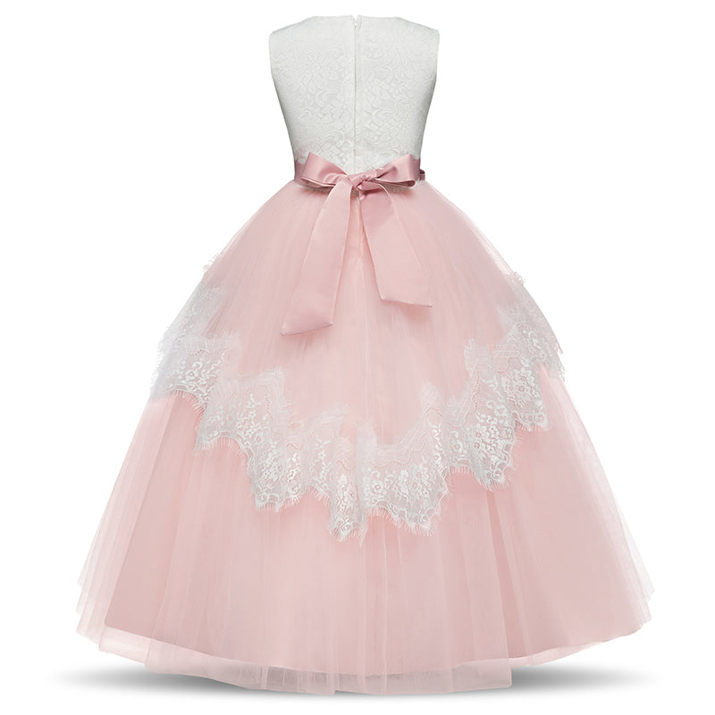 Long Girls Sleeveless Pink Flower Girl Dresses