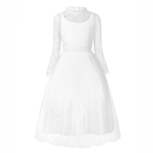 Girls Long Sleeves White Lace First Communion Dresses