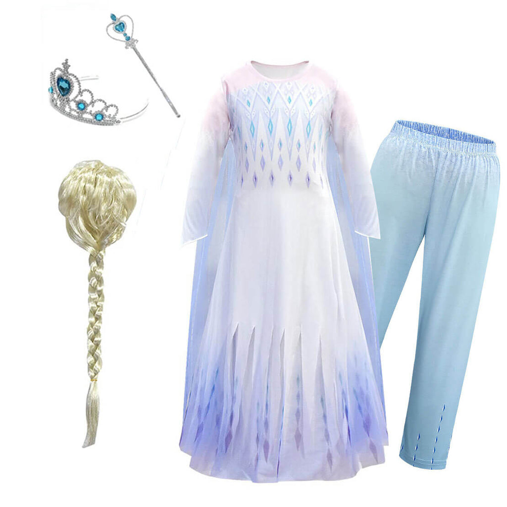 Newest Kids Princess Elsa Dress with Leggings Girls Elsa 5 PCS Full Set Dress-Up Costume