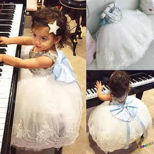 Fashion Girls Lace Wedding Pageant Formal Dress Bow Sequin Gown Dresses 1-10T