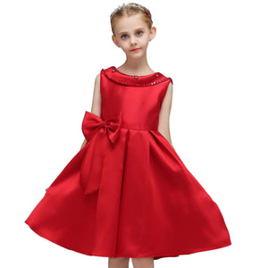 Kids Girl Satin Glitz Ball Gown Pageant Flower Weddings Banquet  Dresses