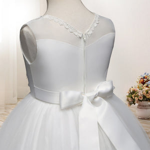 Long Layered Voile White Flower Girl Dresses Wedding Flower Girl Dresses