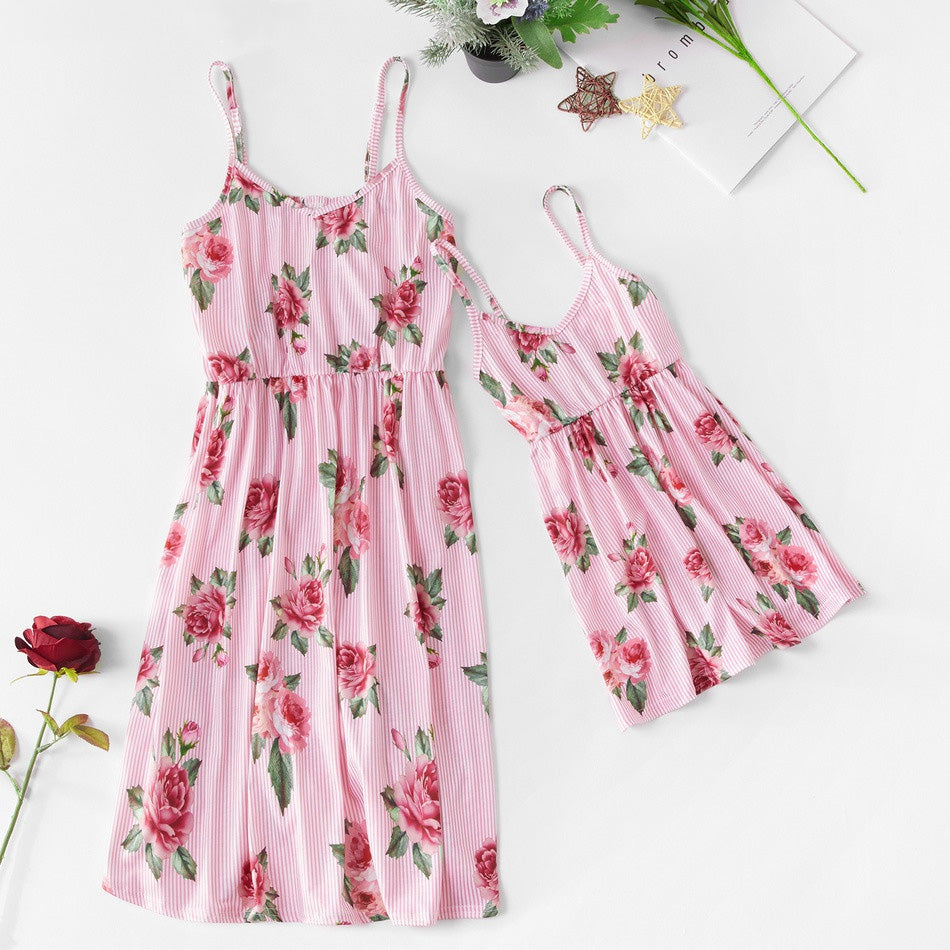 Mommy And Me Dress Spaghetti Strap Mini Dress Family Matching Clothes