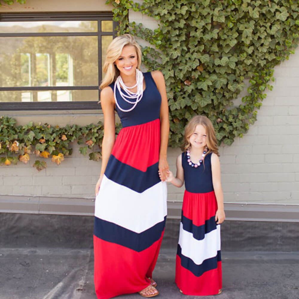 Family Matching Mother Daughter Dresses Long Mommy and Me Dress