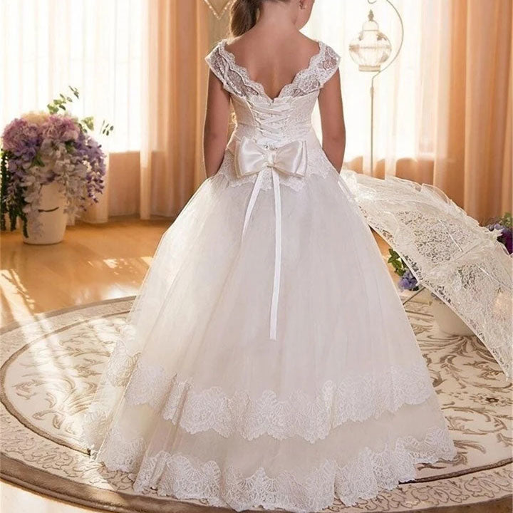 Long Lace Layered Flower Girl Dress Kids Corset Fashion Wedding Prom Dress