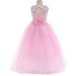 Lace Open Back Flower Girl Dress Girls Wedding Party Prom Dresses with Flower Headband