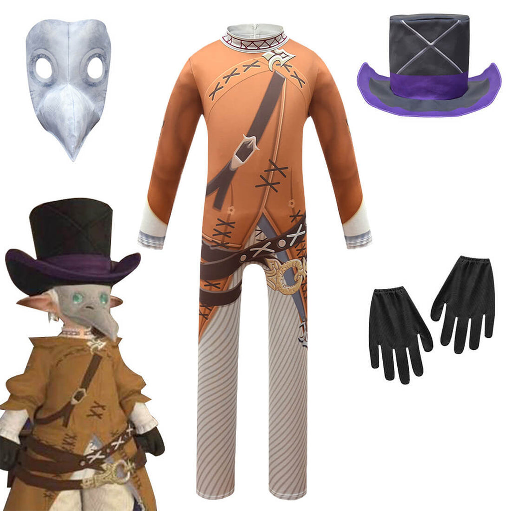 Kids Plague Doctor Outfit Bird Mask Cosplay for Halloween Costume