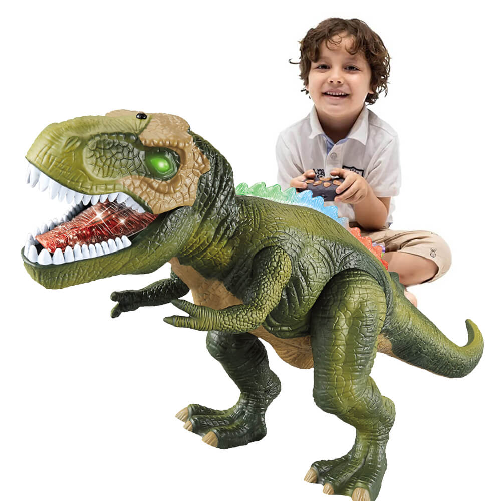 Remote Control T-Rex Dinosaur With LED Light Up, Walking & Roaring Realistic Dinosaur Toys