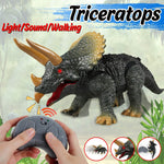 Walking Remote Control Triceratops Toy Model Light Sound High Simulation Action Figure