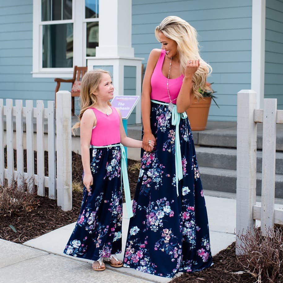 Mommy and Me Dresses - Sleeveless Floral Maxi Dress Family Matching Outfits