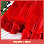 Toddler Christmas Dress Girls Velour Dress Backless with Bow Long Sleeve Christmas Party Dress