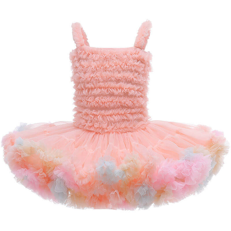 Girl Performance Vest Sling Ruched Kids Little Girls Tutu Dress