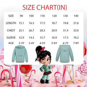 Wreck It Ralph 2 Girls Deluxe Vanellope Costume Hoodie Sweatshirt Pullover Hood Outerwear Casual Tops Blouse