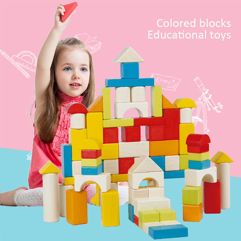 High Quality Wooden Castle Building Blocks Set Toy Wood Block Playset Kit for Toddlers