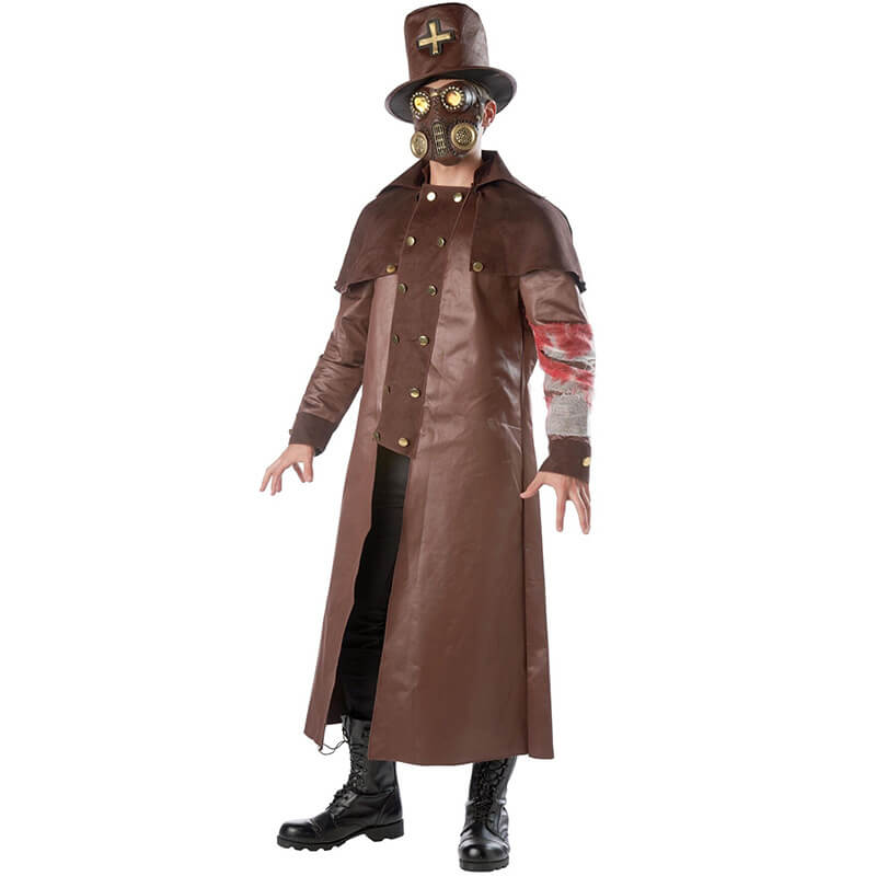 Plague Doctor Costume Halloween Steampunk Outfit for Women Men