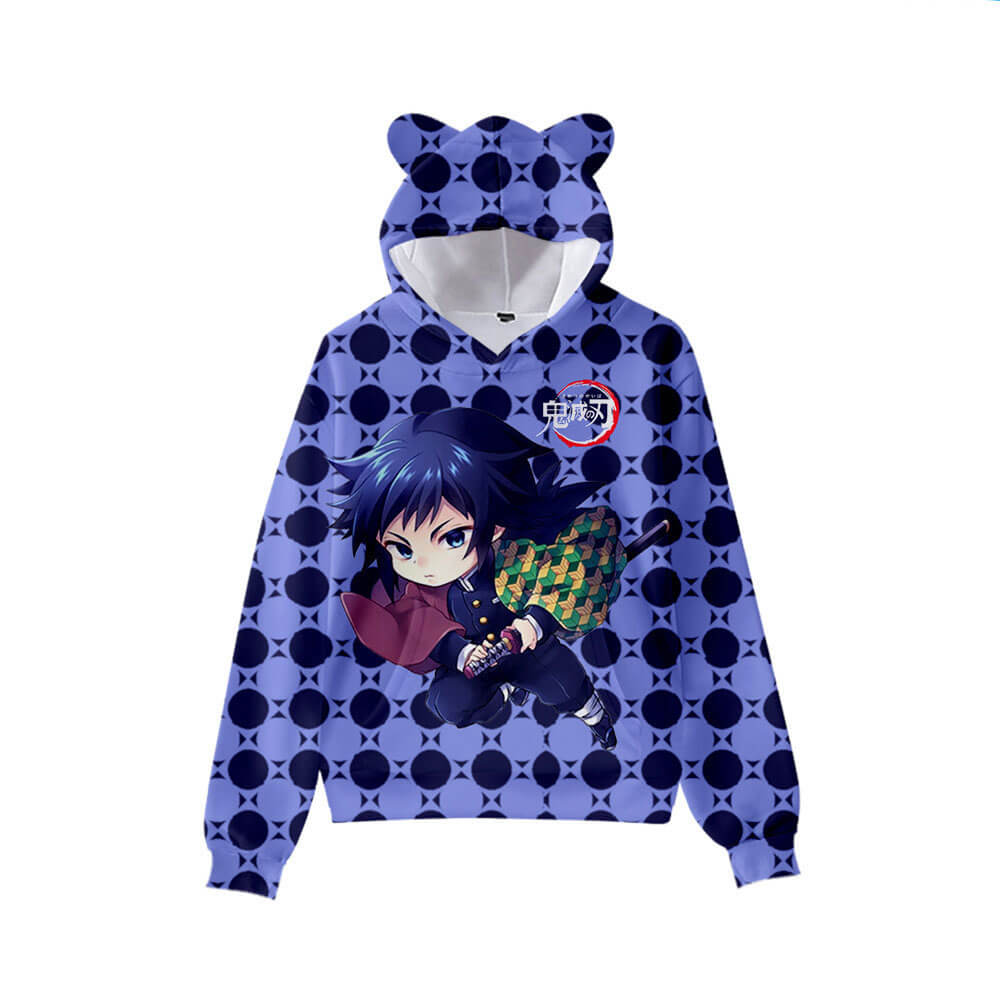 Kids and Teens Demon Slayer Hoodie Kimetsu no Yaiba Kamado Tanjirou Cat Ear Hoodies