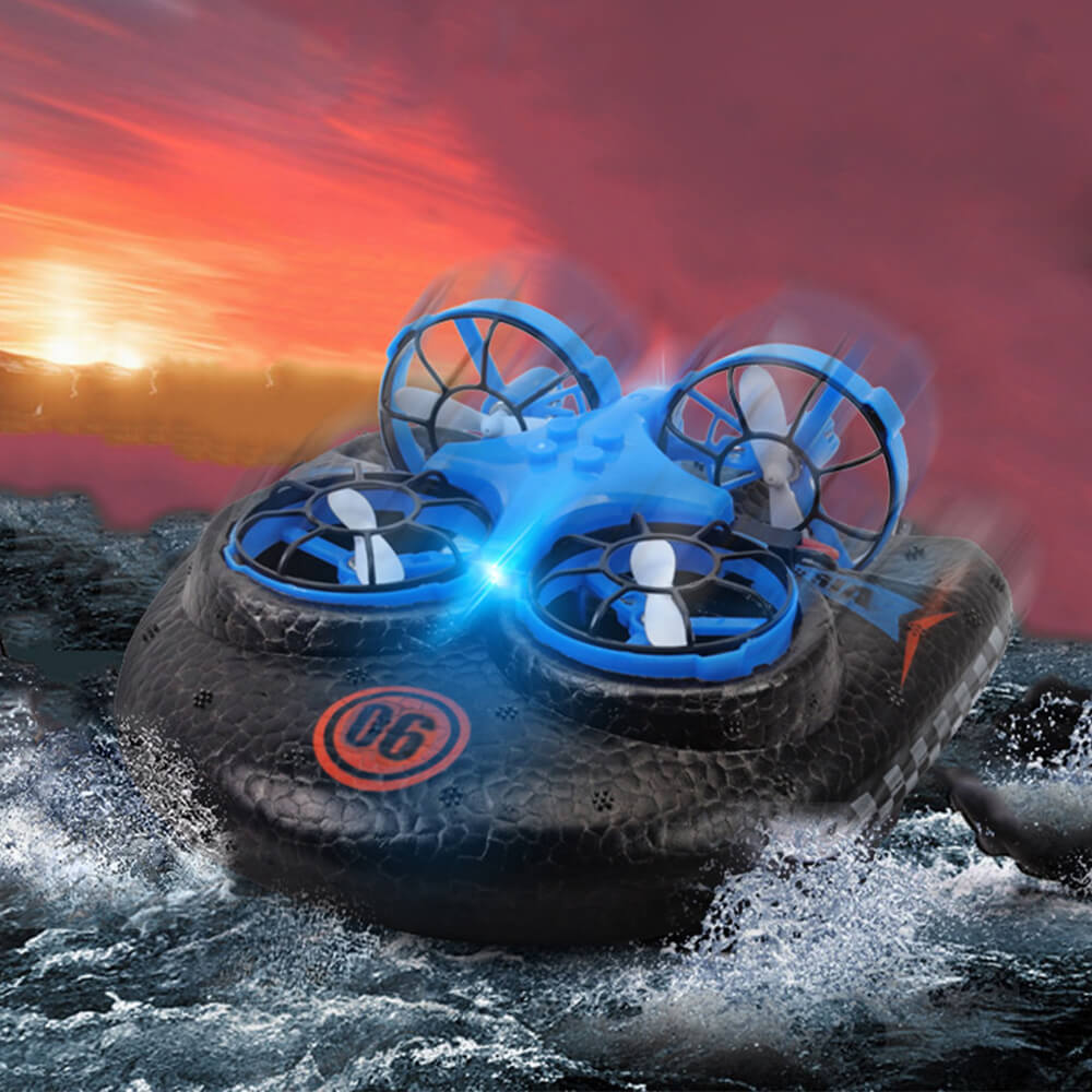 Mini RC Drone Boat Car 3in1 Remote Control Aircraft Speedboat Racing Car Toy For Kids