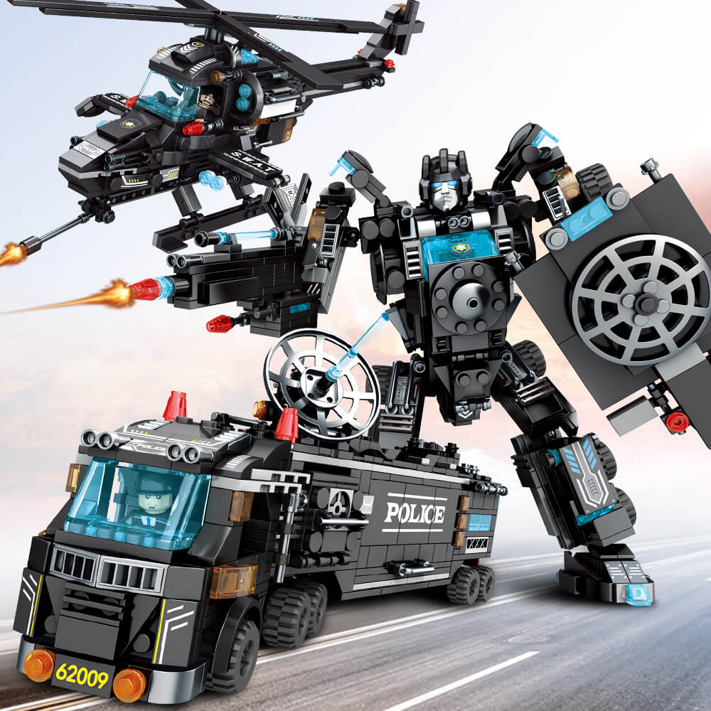 820PCS Building Blocks Robot City Police Toys Blocks Boys Vehicle Aircraft Educational Truck Blocks Compatible Model Bricks