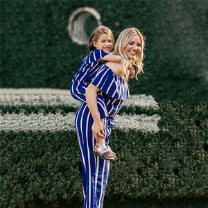 Mommy and Me-Family Matching Striped Off Shoulder Casual Outwear