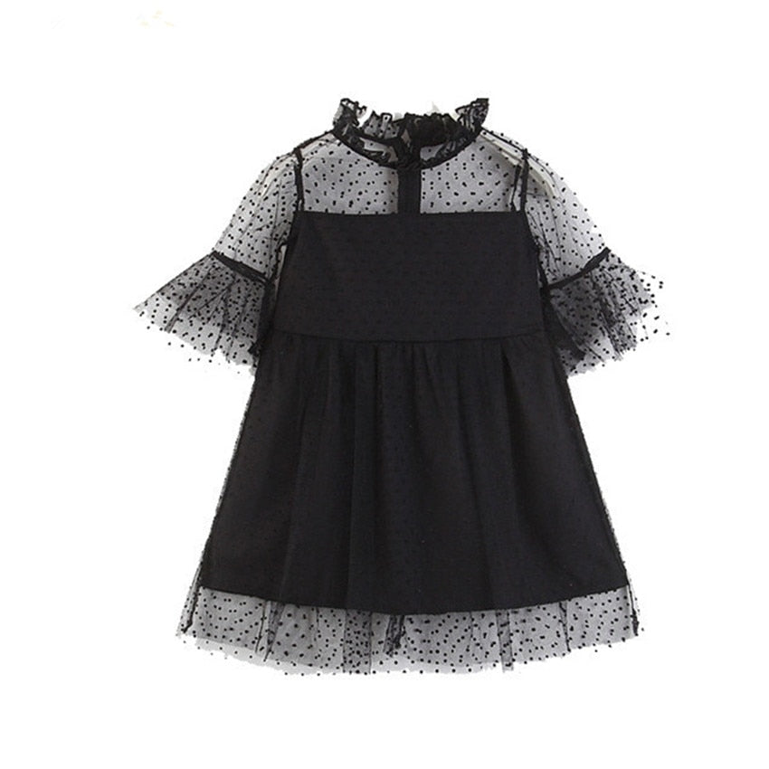 Kids Girls Chiffon Flare Sleeve Princess Tulle Dress  2-7T