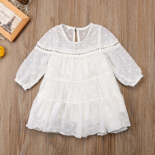 New Toddler Kids Baby Girl Princess Tulle Long Sleeve Dress Party Formal Dresses