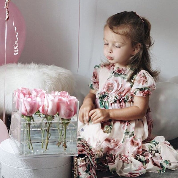 Girl Floral Tulle Dress Kid Baby Girl Flower Puff Sleeve Princess Party Pageant