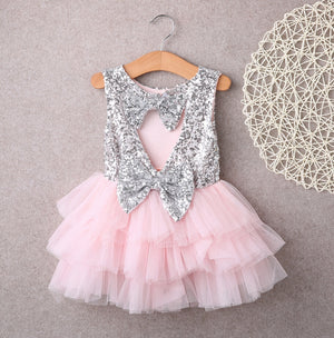 Cute Baby Girl Sequins Bow Tulle Tutu Party Formal Dresses