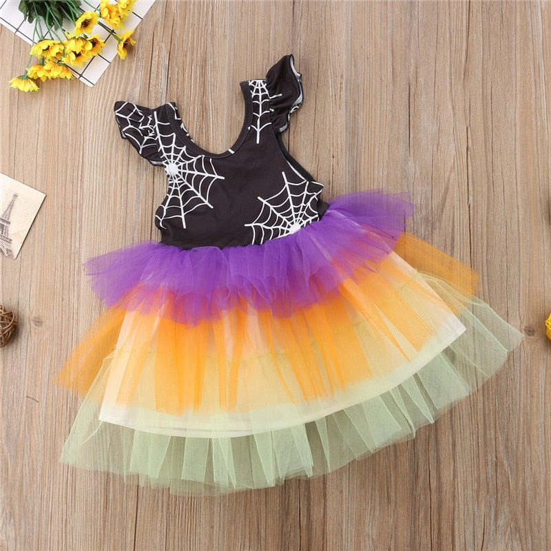 Toddler Girls Halloween Party Spider Web Lace Patchwork Petal  Colorful Tutu Dress