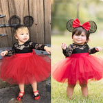 Kids Girls Princess Mesh Lace Flower Long Sleeve  Dress Tulle Wedding Party Ball Gown 6M-5Y