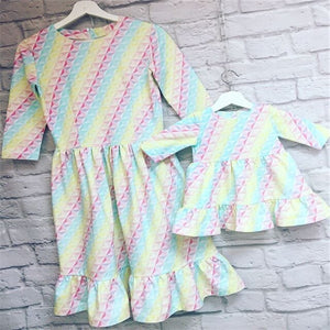 Mommy and Me-Mother Daughter Family Matching Rainbow Dress Striped Ruffles Dresses