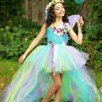 Girls Exquisite Peacock Water Fairy Tutu Dress Birthday Festival Party Pageant Costume
